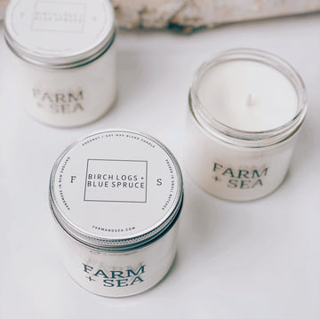 farm + sea candle in birch logs + blue spruce - Piper & Chloe