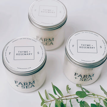 farm + sea candle in rosemary + thyme - Piper & Chloe