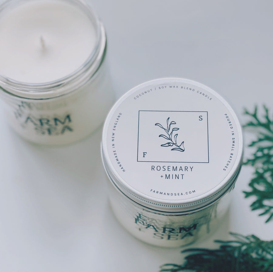 farm + sea candle in rosemary + mint - Piper & Chloe