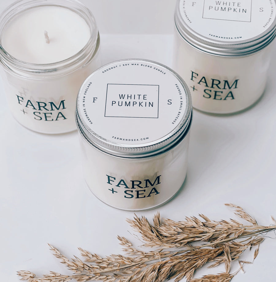 farm + sea candle in white pumpkin - Piper & Chloe