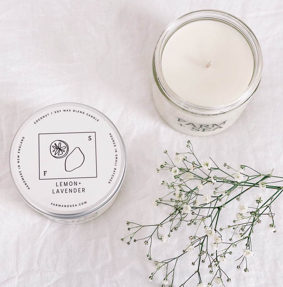 farm + sea candle in lemon + lavender scent. soy hand-poured candle. phthalate-free | Piper & Chloe