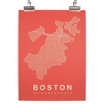boston city map in coral - Piper & Chloe