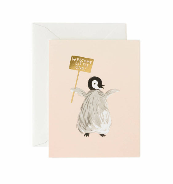 greeting card - welcome penguin