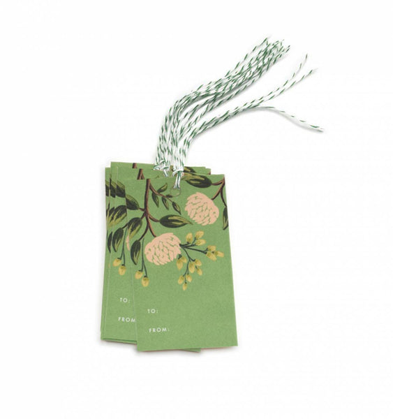 emerald peony gift tags