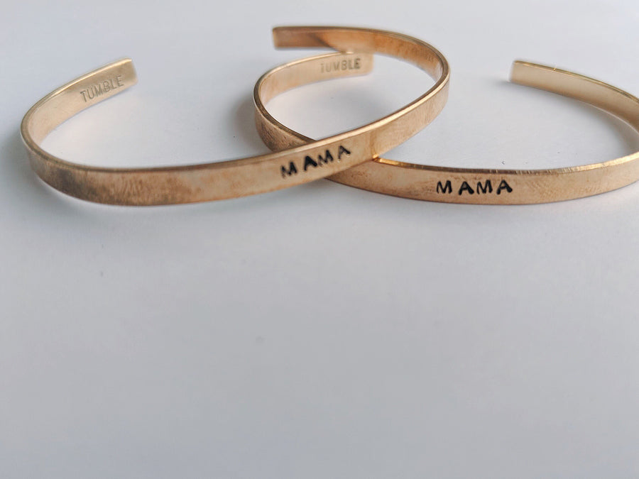 skinny stamped cuff bracelet in gold - Piper & Chloe