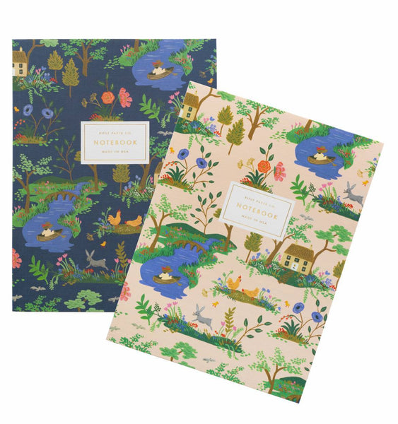 notebooks in garden toile