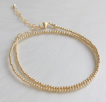 double wrap gold bead bracelet - Piper & Chloe