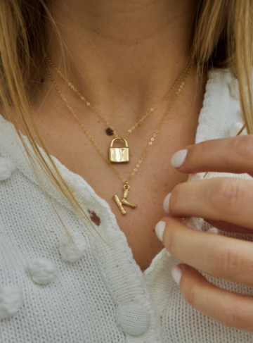 gold lock necklace - Piper & Chloe