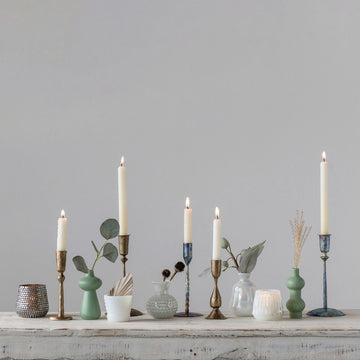 Tablescape with Kings Hand-Forged Hammered Antique Brass Taper Holder | Piper & Chloe