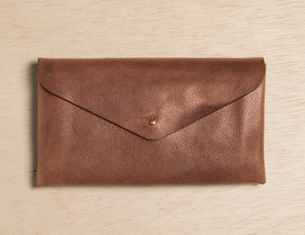 minimalist leather wallet in brown