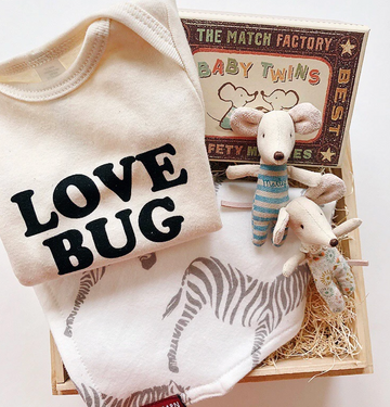 love bug gift box with organic cotton onesie, maileg twin mice and bib | piper & chloe