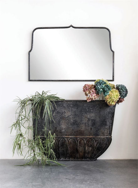 distressed metal framed wall mirror