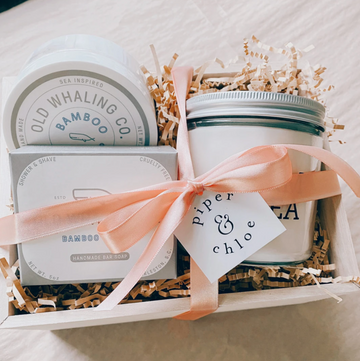 moment of quiet gift box with old whaling co body butter and soap and farm and sea candle | piper & chloe