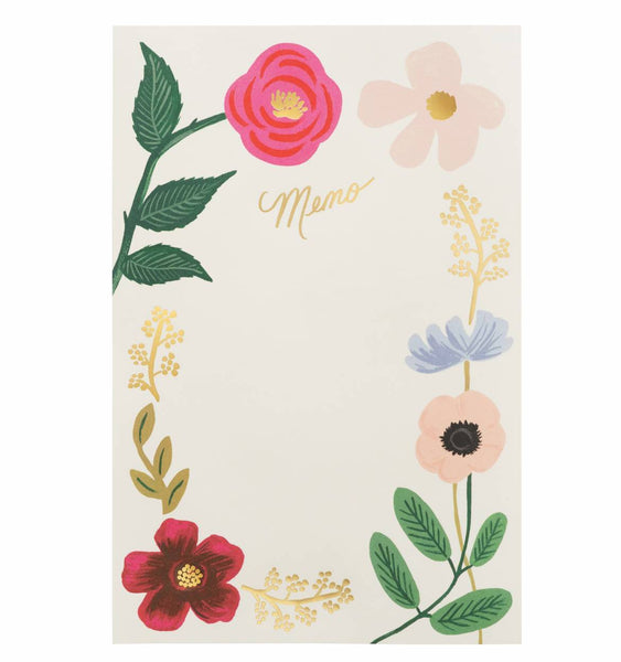 memo notepad wildflowers