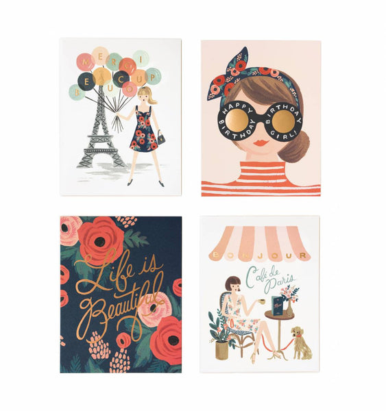 card set in parisian scenes