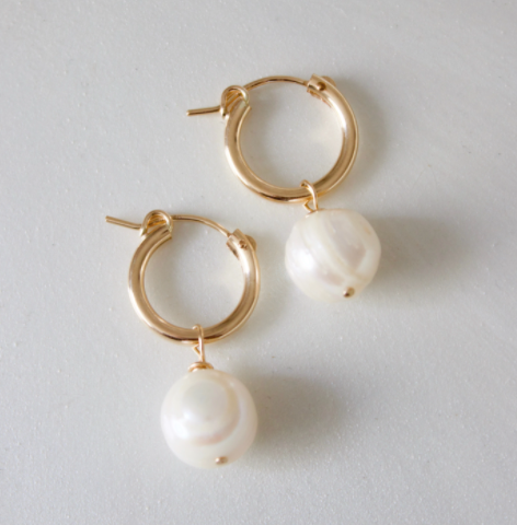 pearl drop hoops - Piper & Chloe