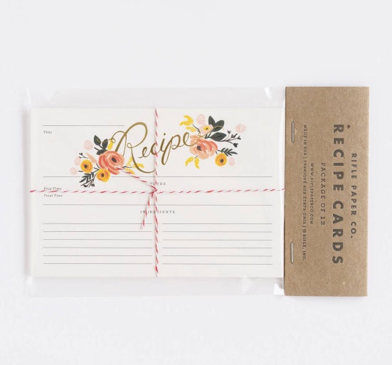 recipe cards in peony print