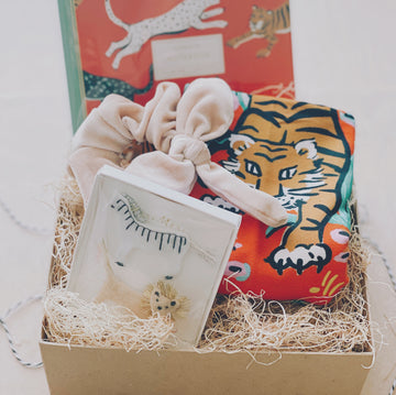 go get 'em tiger gift box with meri meri hairclips, scrunchie, idlewild tiger tea towel and notebook | piper & chloe