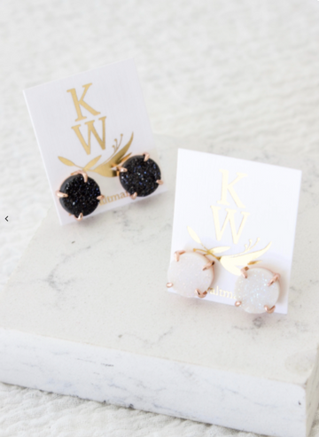 druzy studs with prongs - Piper & Chloe