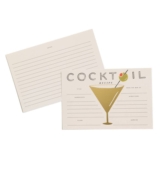 recipe cards in cocktail print