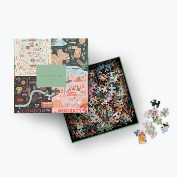 Rifle Paper Co. Favorite Destinations Map From Tokyo to Mexico City Jigsaw | Piper & Chloe