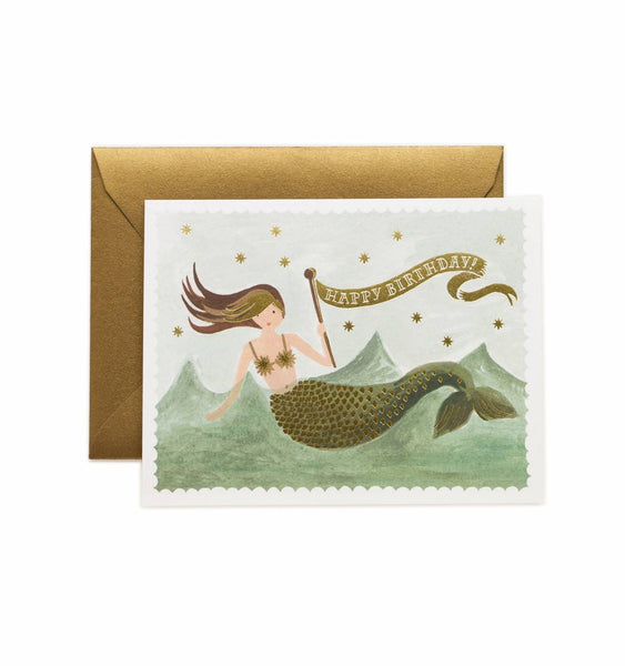 greeting card - vintage mermaid birthday