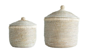woven seagrass baskets - Piper & Chloe