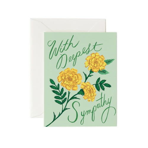 greeting card - deepest sympathy marigolds