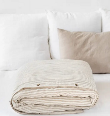 magic linen natural and white striped duvet cover | Piper & Chloe