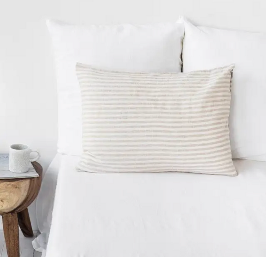 magic linen natural and white striped pillowcase | Piper & Chloe