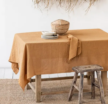 100% Linen Tan Tablecloth | Piper & Chloe