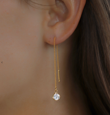 round cz thread earrings - Piper & Chloe