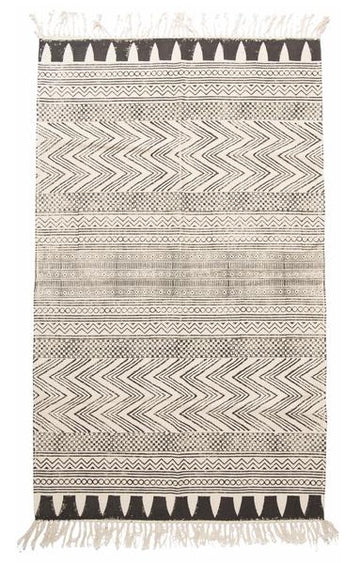 rug hand blocked dhurrie in tribal print - Piper & Chloe