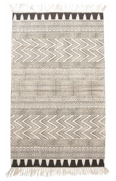 rug hand blocked dhurrie in tribal print