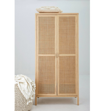archipelago woven cabinet and wardrobe made from wood and woven rattan | Piper & Chloe