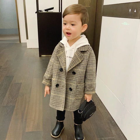 Checkered Stripes Spring Woolen Trench Coat