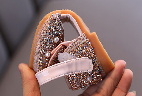 Pearl Rhinestones Bow Open Side Princess Shoes