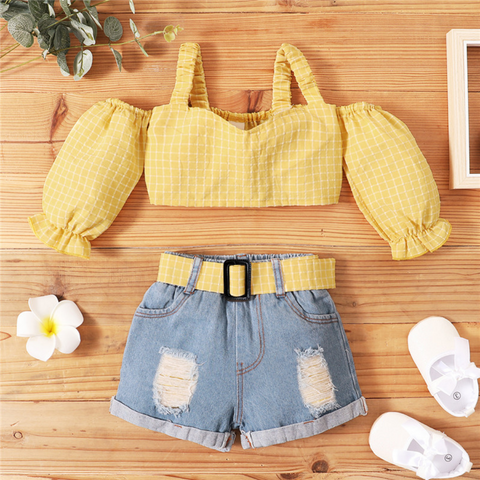 Yellow Checkered Off Shoulder Set
