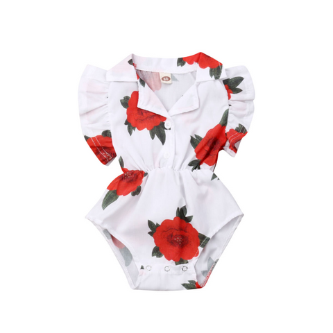 Rose Ruffle Romper with Collar