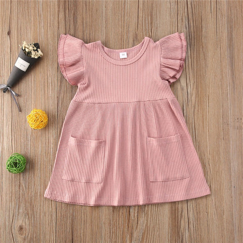 Ribbed Knitted Ruffles Dress