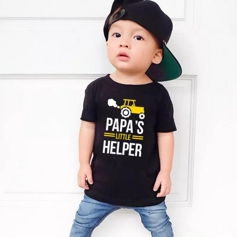 Papa and Papa's Little Helper Dad and Son Matching T-Shirt