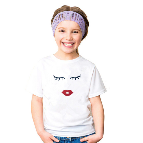 Eye Lashes and Red Lips Print Mommy and Me Matching T-Shirt