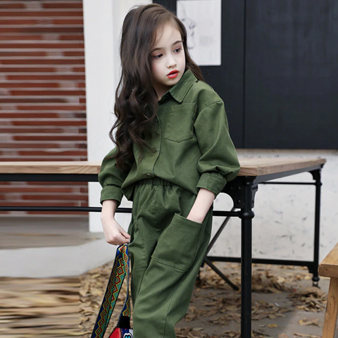 Green Army Top and Pants Set Suit