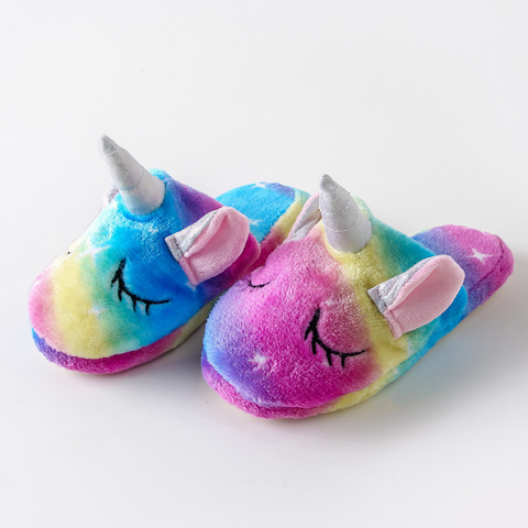 3D Unicorn with Ears Plush Slippers