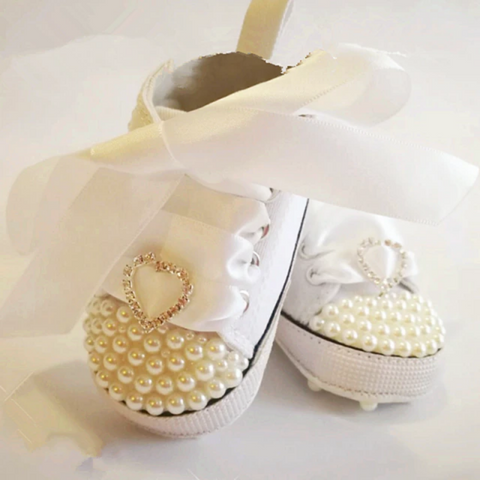 White Lace Baby Shoes with Pearls and Heart