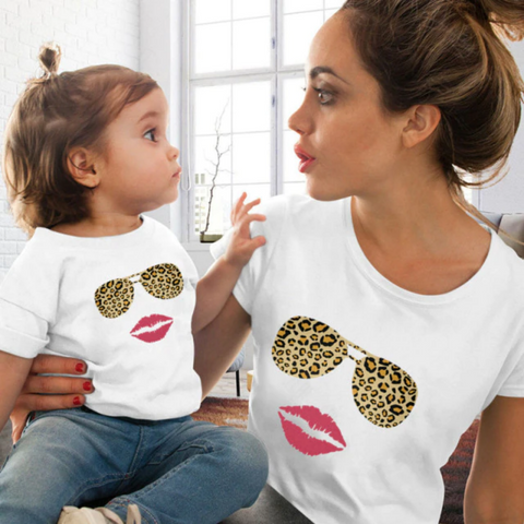 Jaguar Print Shades Mommy and Me Matching T-Shirt