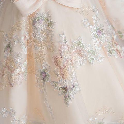 Overall Embroidery Princess Cocktail Dress