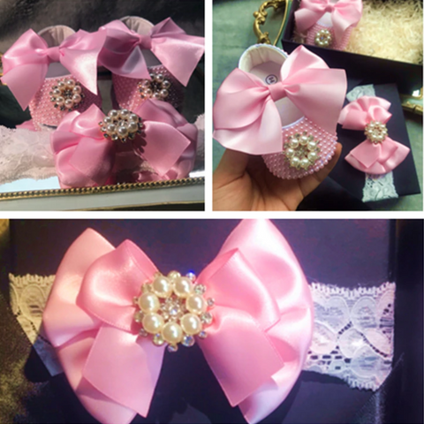 Handmade Pearls with Silver Rhinestones Baby Shoes and Headband Set
