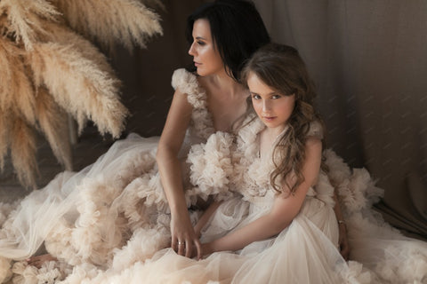 Mom & Me Tiered Pleated Long Dress