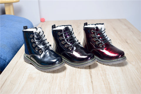 Shiny 3D Print Ankle Boots